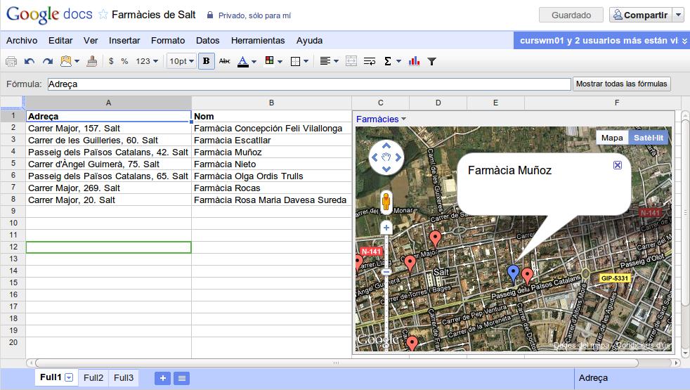 """""""gadget"""" """"Mapa"""" de Google Docs"""
