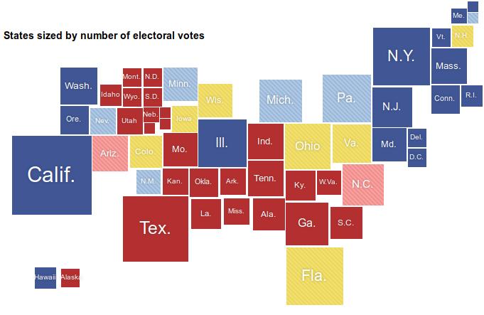 Mapa electoral de los EUA en un cartograma de Demers