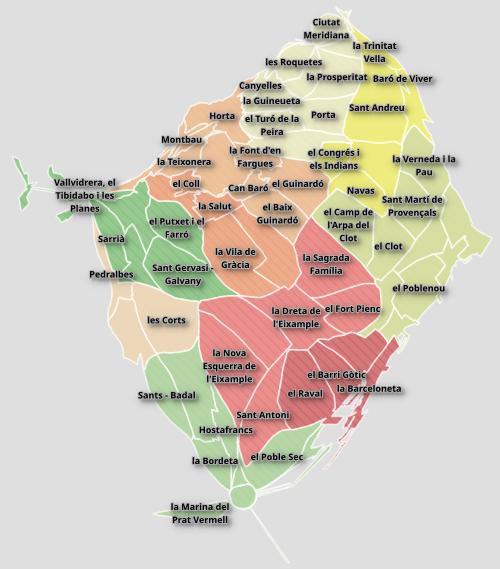 Cartograma de los barrios de Barcelona, por población