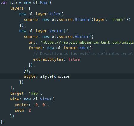Estilos en OpenLayers: llamada a la funcion de estilo
