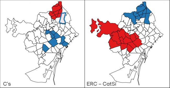Resultado de la aplicación de análisis I de Moran Local