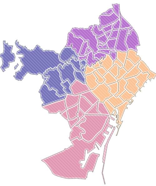 Barrios agrupados en cuatro clusters, basados en la distancia.