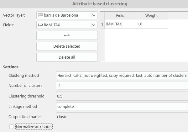 Ventana de la herramienta Attribute based cluster