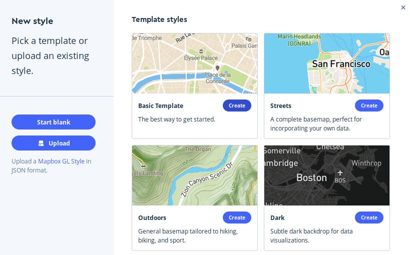 Cartografía basic template de Mapbox