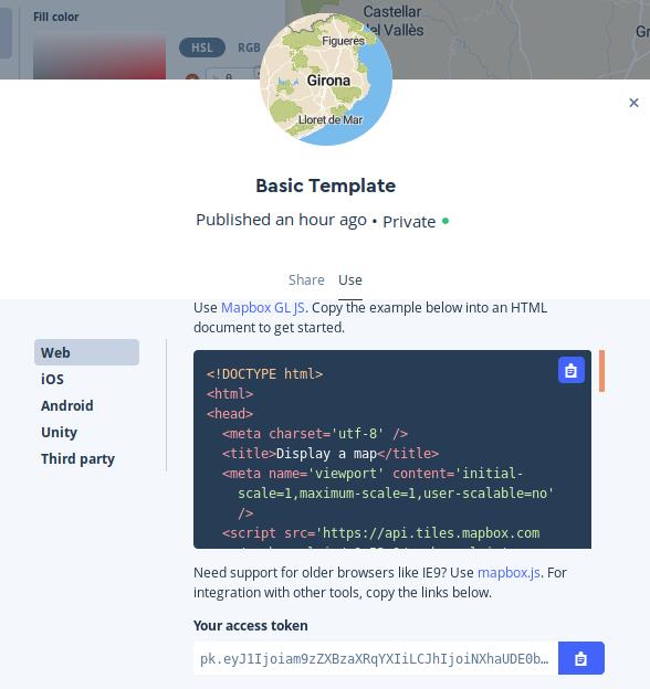 Compartir cartografía mapbox a través de otras aplicaciones