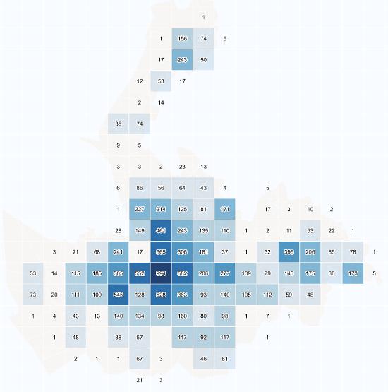 Malla regular mediante la cual se muestra la intensidad y la distribución territorial de los crímenes reportados por la policía del condado de Merseyside. Visualist.