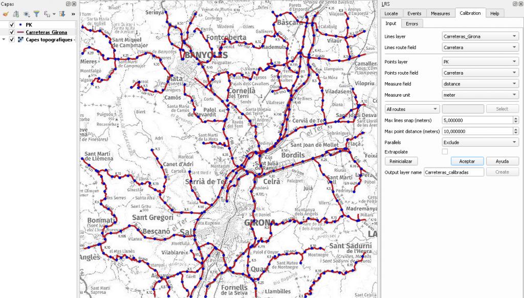 Segmentación dinámica. Calibrar las rutas como paso previo a la segmentación con QGIS.