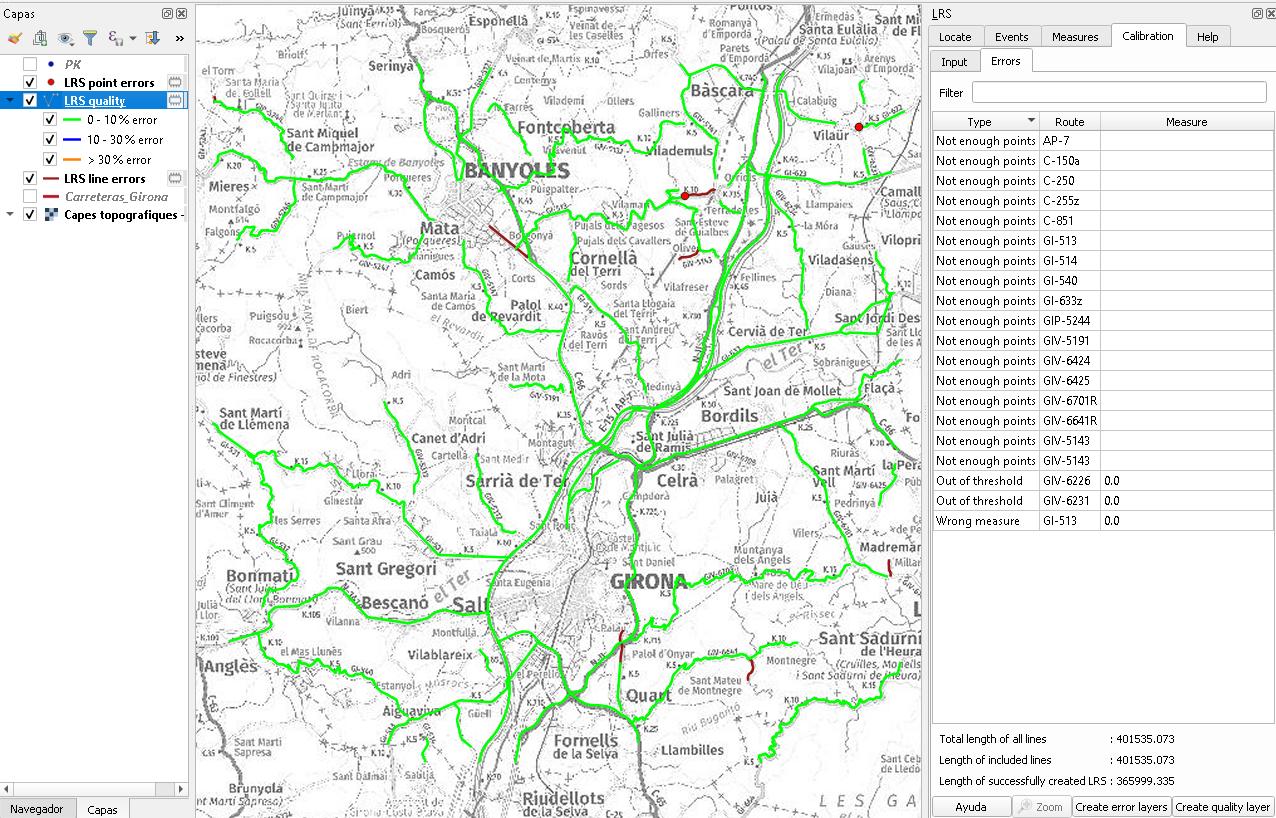 Segmentación dinámica. Calibrar las rutas. Visualización de errores y calidad de la calibración.