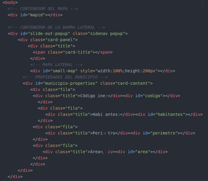 estructura html de la ventana deslizante