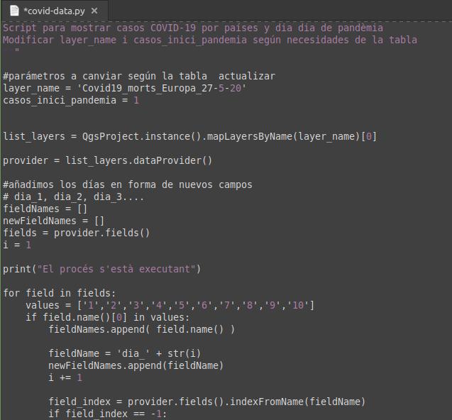 Código Python de la rutina para calcular los casos por día de pandemia.