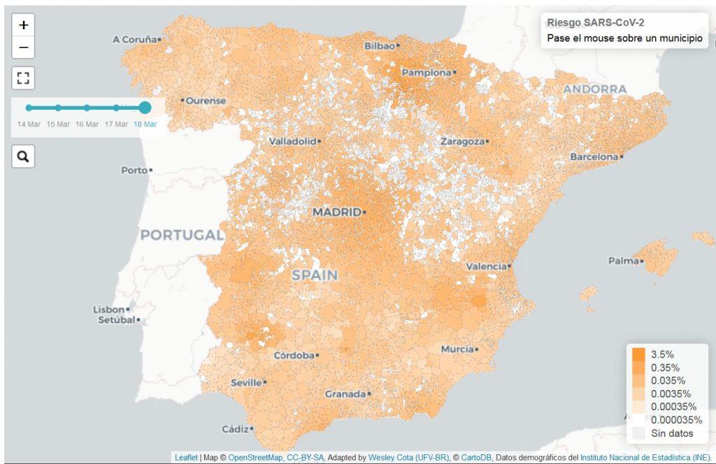 Riesgo epidémico en España. COVID-19