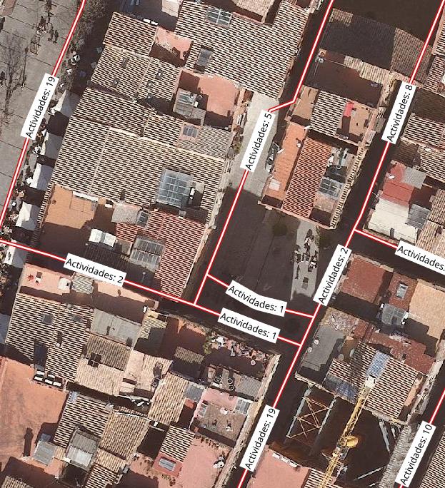Número de actividades por tramo de calle