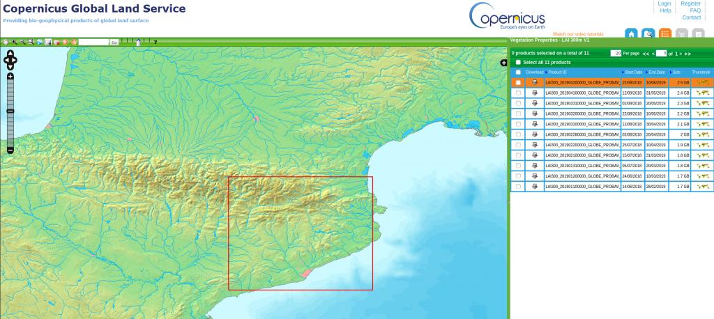 Portal de acceso a información de los servicios Copernicus.